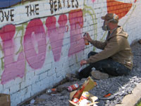 Ian at work on the Penny Lane Wonderwall